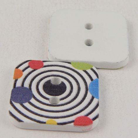 23mm Square Painted Target 2 Hole Wood Button