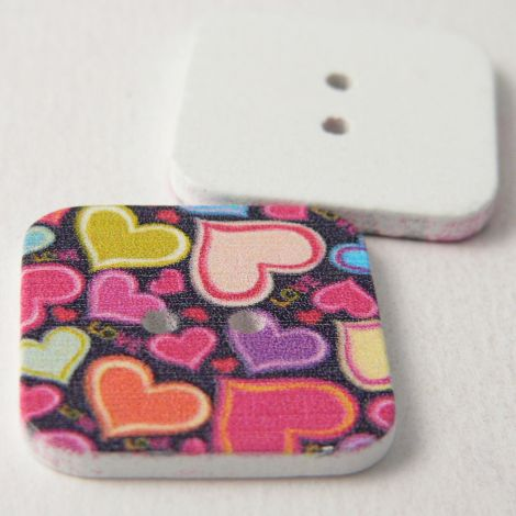23mm Square Painted Love Hearts 2 Hole Wood Button