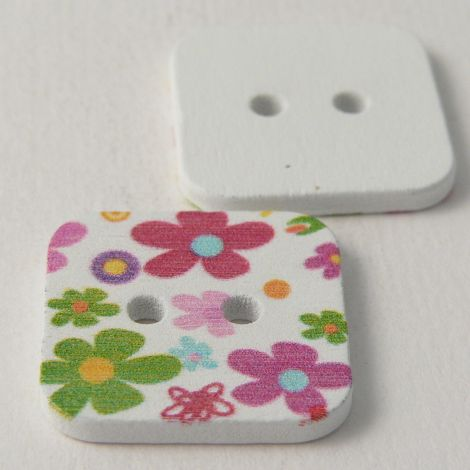 23mm Square Painted Floral 2 Hole Wood Button
