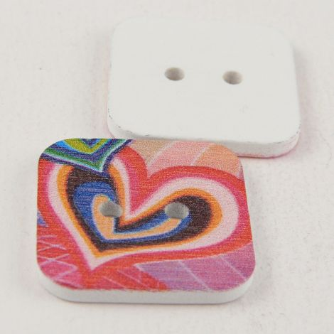 23mm Square Painted Retro Love Hearts 2 Hole Wood Button