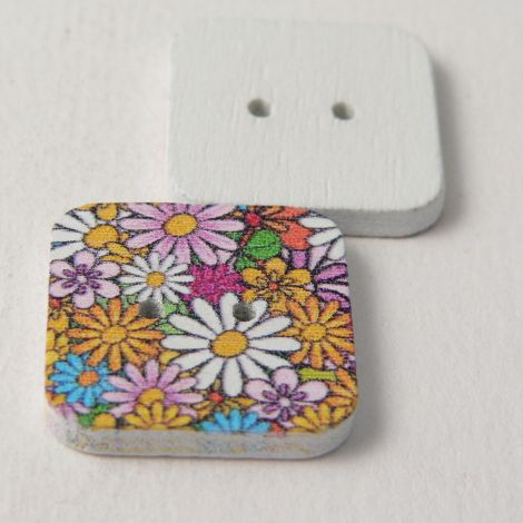 20mm Painted Square Floral  Novelty 2 Hole Wood Button