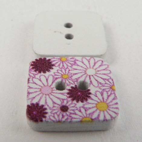 15mm Painted Square Floral  Novelty 2 Hole Wood Button