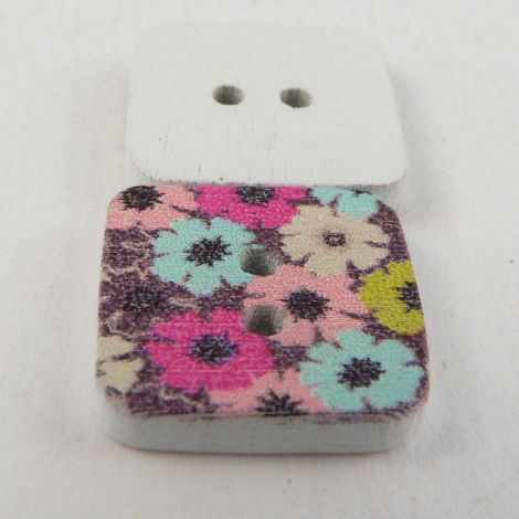 15mm Painted Square Retro Floral  Novelty 2 Hole Wood Button