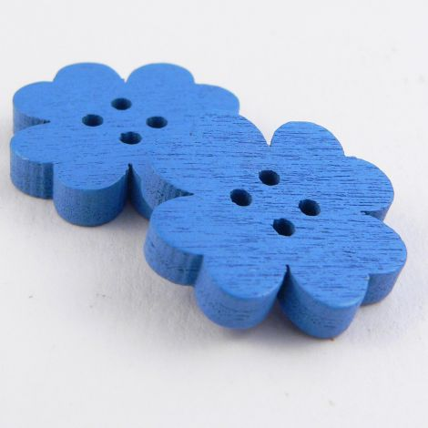 20mm Blue Flower 4 Hole Wood Button