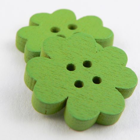 20mm Green Flower 4 Hole Wood Button