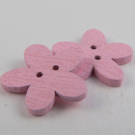 15mm Pink Flower 2 Hole Wood Button