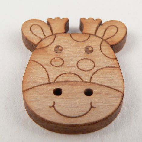 19mm Cartoon Giraffe Head Wood 2 Hole Button