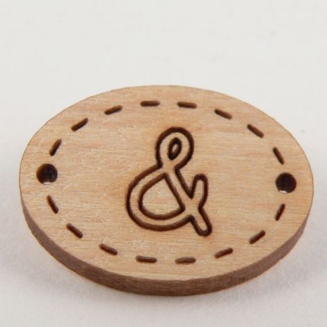 20mm Ampersand or & Wood 2 Hole Button
