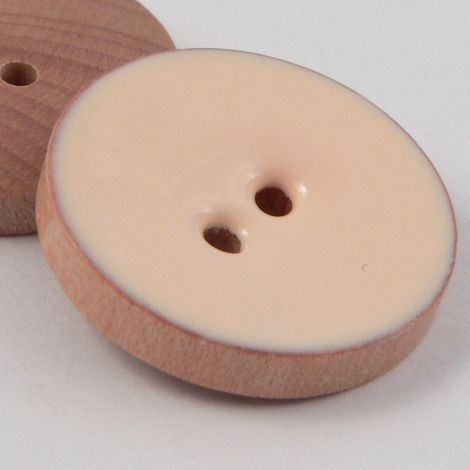 15mm Nude Pink Glazed Wood 2 Hole Button