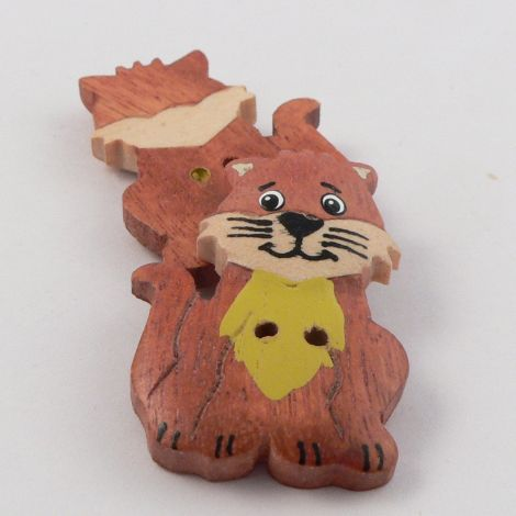 22mm Wooden Sitting Cat 2 Hole Button