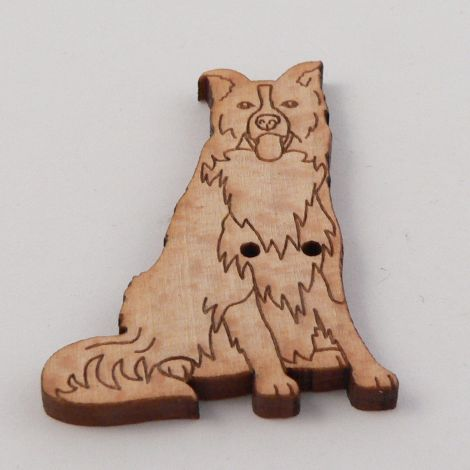 27mm Border Collie Dog Wood 2 Hole Button