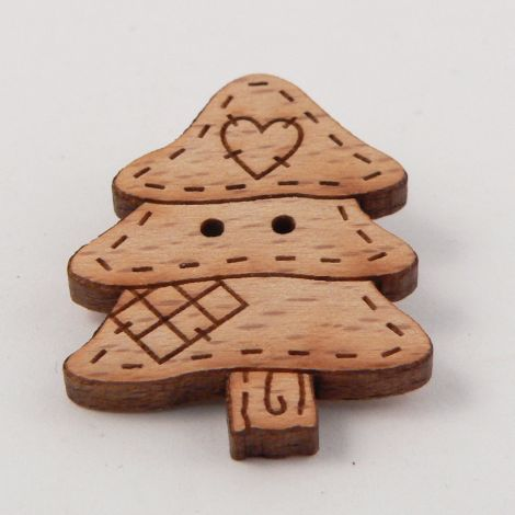 23mm Patchwork Christmas Tree Wood 2 Hole Button