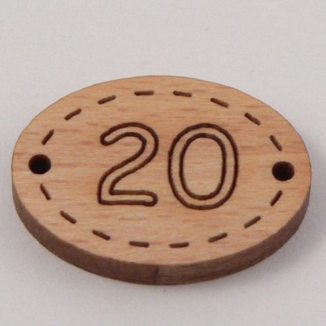 20mm Number Twenty Wood 2 Hole Button