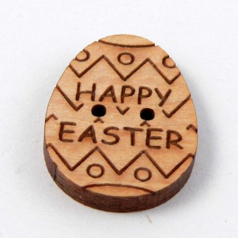 16mm Happy Easter Egg Wood 2 Hole Button