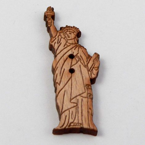 14mm Statue Of Liberty Wood 2 Hole Button