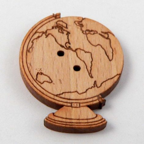 23mm Globe Of The World Wood 2 Hole Button