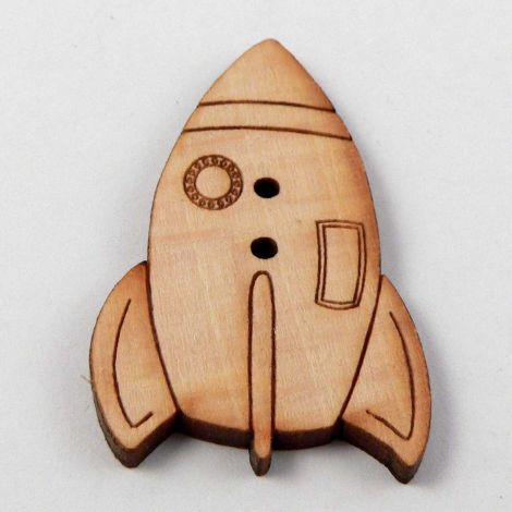 22mm Space Rocket Wood 2 Hole Button