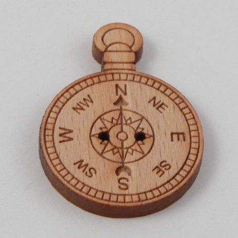22mm Compass Wood 2 Hole Button