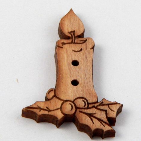 20mm Candle With Holly Wood 2 Hole Button