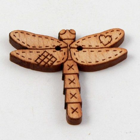 30mm Dragonfly Wood 2 Hole Button