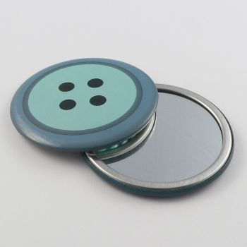 75mm Blue Vanity Mirror In The Design Of A 4 Hole Button