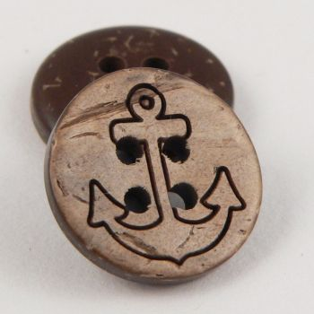 15mm Engraved Anchor Coconut 4 Hole Button