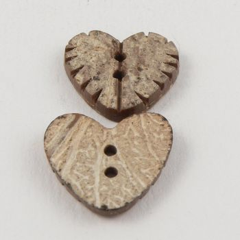 20mm Heart Coconut 2 Hole Button