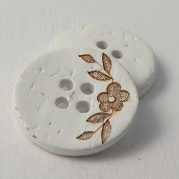 20mm Coconut White Floral 4 Hole Button