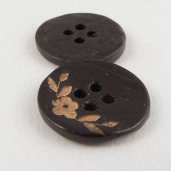20mm Coconut Chocolate Brown Floral 4 Hole Button