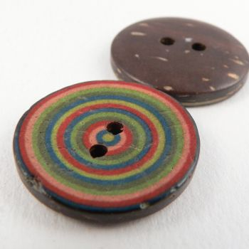 30mm Italian Coconut Target Style 2 Hole Button
