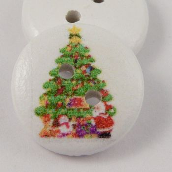 15mm Christmas Tree 2 Hole Coconut Button