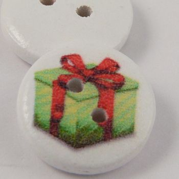 15mm Christmas Present 2 Hole Coconut Button