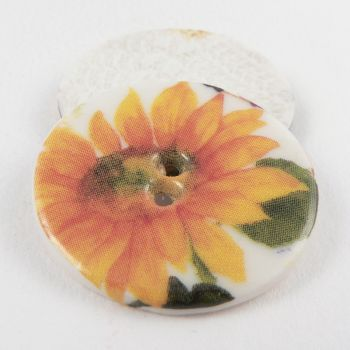 29mm Ceramic Yellow Sunflower 2 Hole Button