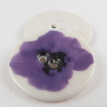 29mm Ceramic Purple Flower 2 Hole Button