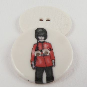 29mm Ceramic Red Queens Guard Soldier 2 Hole Button