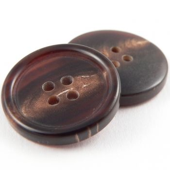 22mm Brown Round Horn 4 Hole Button