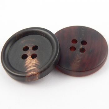 20mm Matt Brown Round Horn 4 Hole Button