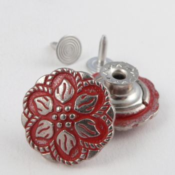 20mm Jeans Red/Silver Flower 1 Hole Button