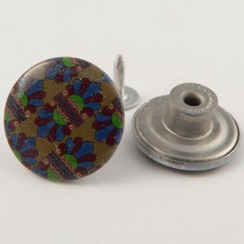 20mm Jeans Multicoloured Print 1 Hole Button