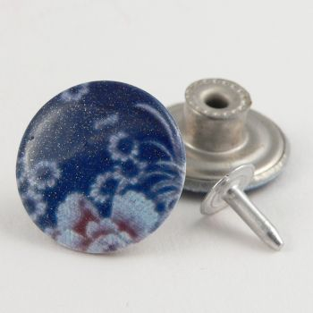 20mm Glittery Dark Blue Floral Jeans 1 Hole Button