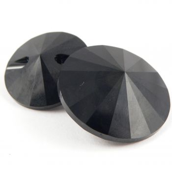 16mm Swarovski Austrian Crystal Jet Black Shank Button