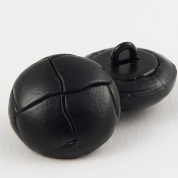 15mm Black Classic Leather Shank Button