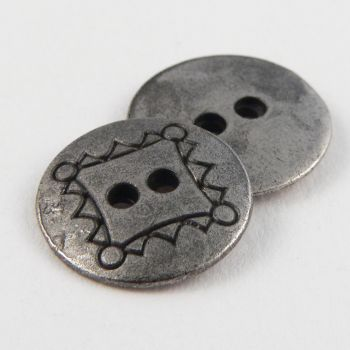 15mm Round Metal 2 Hole Pewter Button
