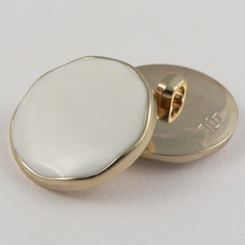 25mm Gold Shank Button Filled with Cream Enamel
