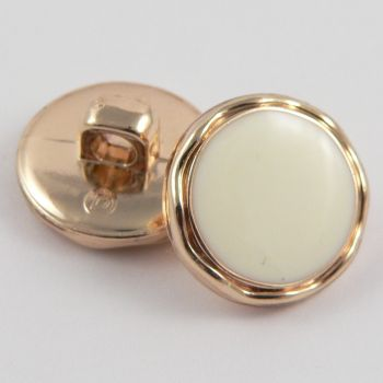 21mm Gold Shank Button Filled with Cream Enamel