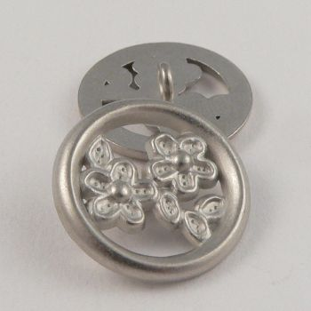 23mm Round Silver Floral Metal Shank Button