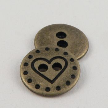 14mm Gold Round Heart Metal 2 Hole Button