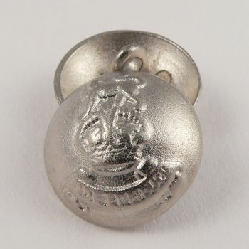 18mm Silver Metal Shank Domed Coat of Arms Button