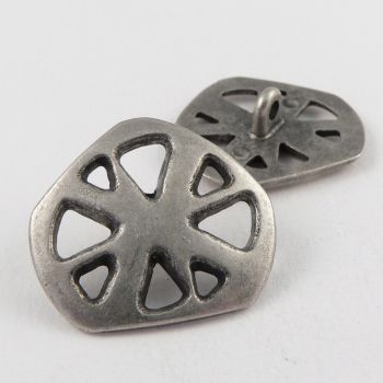 28mm Silver/Pewter Contemporary Metal Shank Button