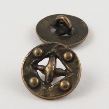 15mm Old Brass Style Metal Shank Button